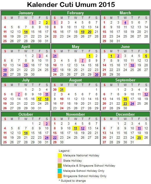 kalendar cuti sekolah 2015
